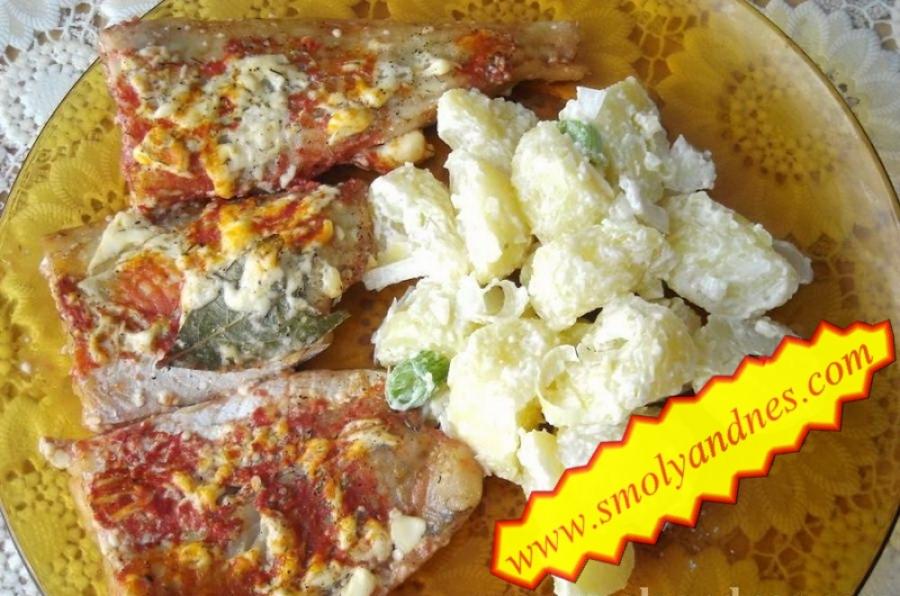 Рибно филе на фурна с майонеза и вино