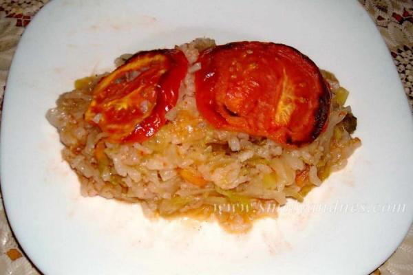 Зеле с ориз на фурна