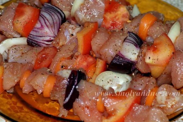 Пилешки шишчета със зеленчуци